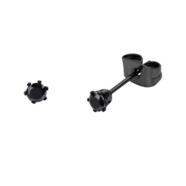jcpenney.com | Black Cubic Zirconia 3mm Stainless Steel and Black IP Stud Earrings