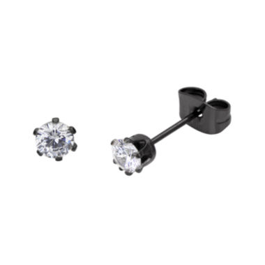 jcpenney.com | Cubic Zirconia 3mm Stainless Steel and Black IP Stud Earrings