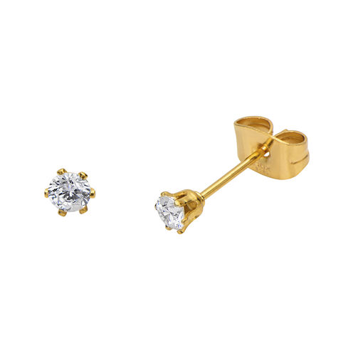 Cubic Zirconia 3mm Stainless Steel and Yellow IP Stud Earrings