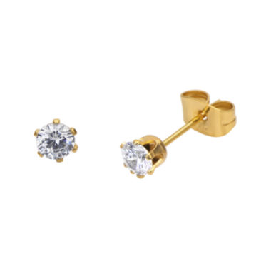 jcpenney.com | Cubic Zirconia 4mm Stainless Steel and Yellow IP Stud Earrings