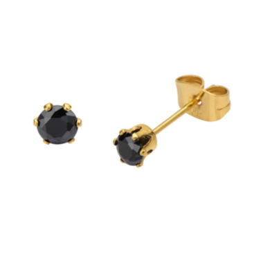jcpenney.com | Black Cubic Zirconia 4mm Stainless Steel and Yellow IP Stud Earrings