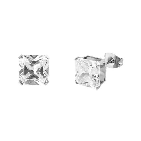 Cubic Zirconia 4mm Stainless Steel Square Stud Earrings
