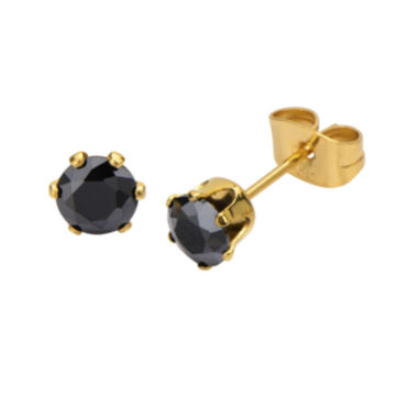 jcpenney.com | Black Cubic Zirconia 5mm Stainless Steel and Yellow IP Stud Earrings
