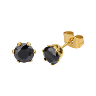 jcpenney.com | Black Cubic Zirconia 6mm Stainless Steel and Yellow IP Stud Earrings