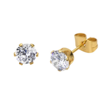 jcpenney.com | Cubic Zirconia 6mm Stainless Steel and Yellow IP Stud Earrings