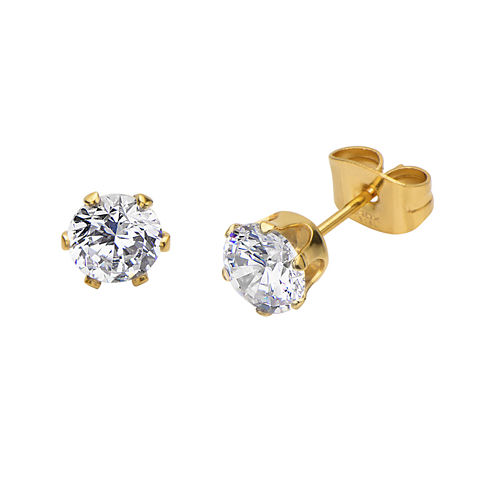Cubic Zirconia 6mm Stainless Steel and Yellow IP Stud Earrings