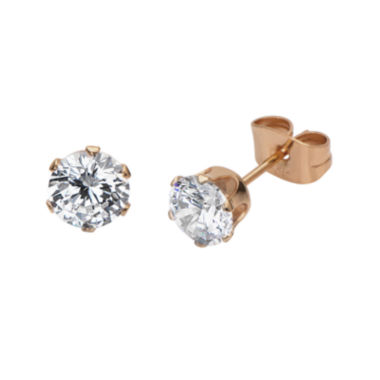 jcpenney.com | Cubic Zirconia 6mm Stainless Steel and Rose-Tone IP Stud Earrings