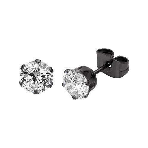 Cubic Zirconia 8mm Stainless Steel and Black IP Stud Earrings