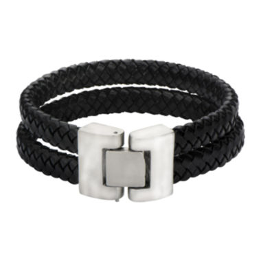 jcpenney.com | Mens Double-Row Black Braided Leather Bracelet
