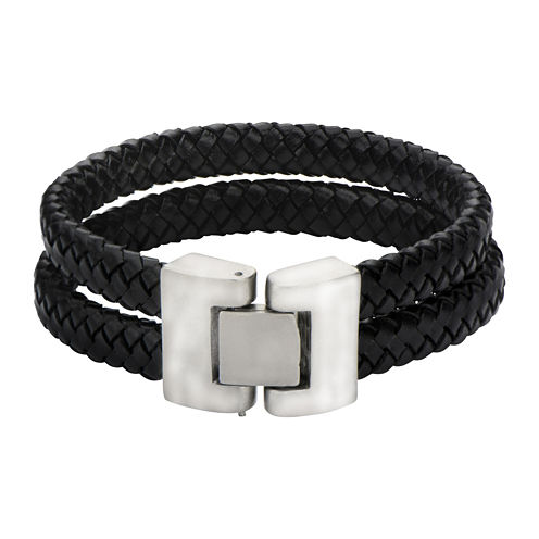 Mens Double-Row Black Braided Leather Bracelet