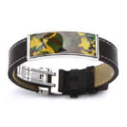 Mens Camo-Inlay Brown Leather Bracelet