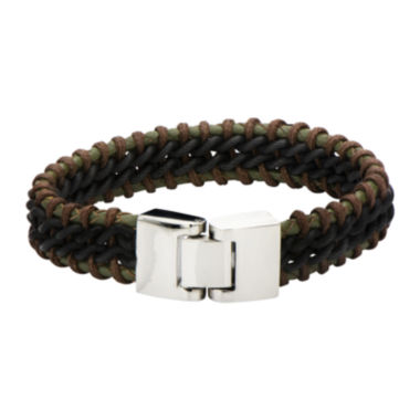 jcpenney.com | Mens Dark Green, Brown and Black Leather Braided Bracelet