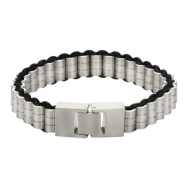 jcpenney.com | Mens Cylindrical Stainless Steel and Rubber Bracelet
