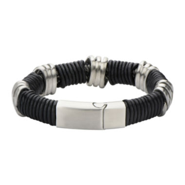 jcpenney.com | Mens Stainless Steel and Matte Black Leather Loop Bracelet