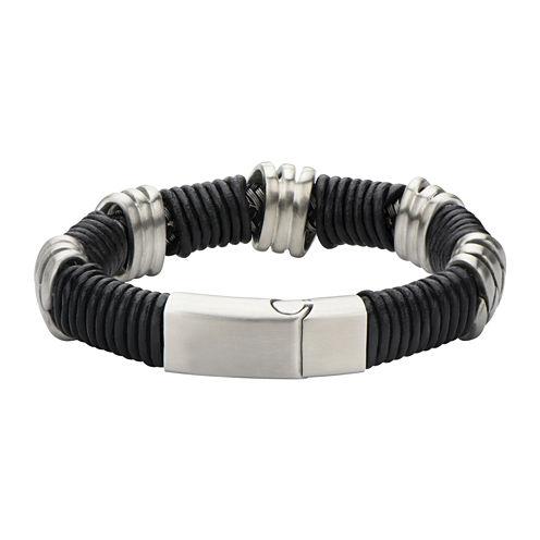Mens Stainless Steel and Matte Black Leather Loop Bracelet