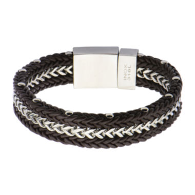 jcpenney.com | Mens Brown Leather and Franco Chain Braided Bracelet