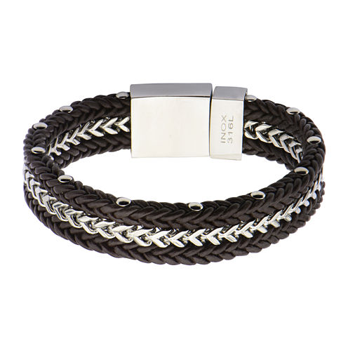 Mens Brown Leather and Franco Chain Braided Bracelet