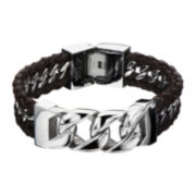 Mens Brown Leather and Stainless Steel Curb Chain Bracelet
