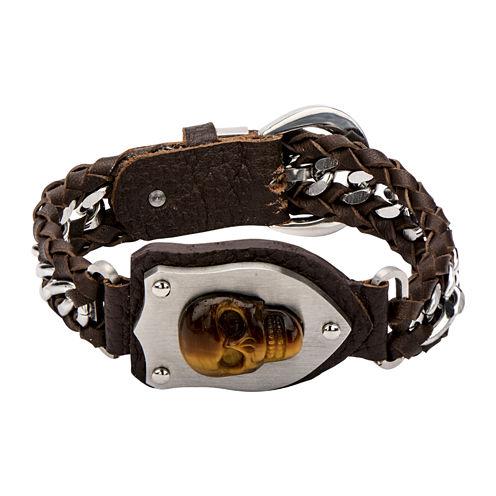 Mens Tiger's Eye Skull Braided Leather Bracelet
