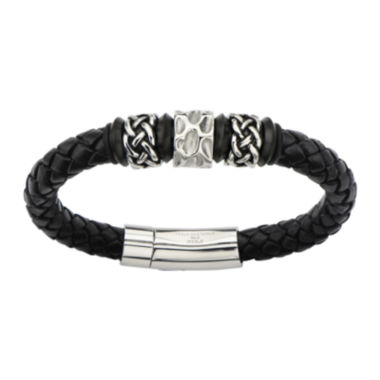 jcpenney.com | Mens Black Braided Leather and Stainless Steel Celtic Knot Bracelet