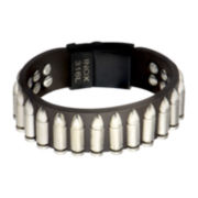 Mens Brown Leather and Stainless Steel Bullet Bracelet