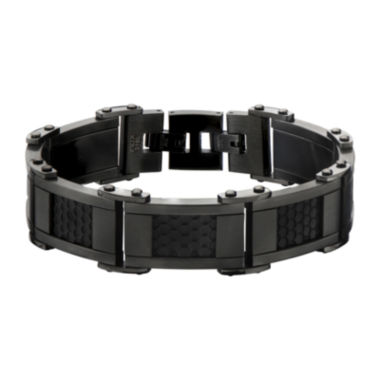 jcpenney.com | Mens Black and Gunmetal Stainless Steel Car Grill Link Bracelet