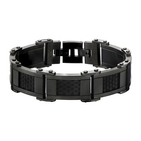 Mens Black and Gunmetal Stainless Steel Car Grill Link Bracelet