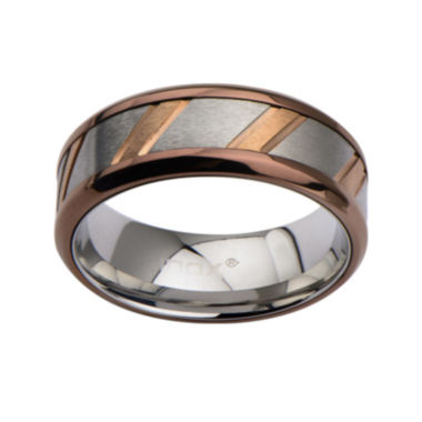 jcpenney.com | Mens Tri-Tone Stainless Steel Diagonal-Cut Band