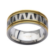 Mens Two-Tone Stainless Steel V-Design Band