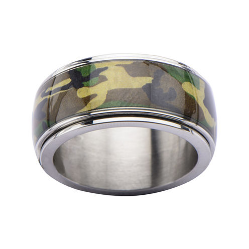 Mens Camo Stainless Steel Ring