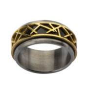 Mens Tri-Tone Stainless Steel Thorn Ring