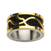Mens Tri-Tone Stainless Steel Stingray Ring