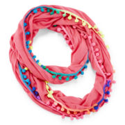 On The Verge Pink Pom Pom Scarf – Girls One Size