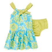 Okie Dokie® Gathered-Neck Dress – Baby Girls newborn-24m