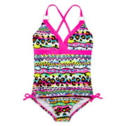St. Tropez Tribal Animal Print Swimsuit – Girls 7-16