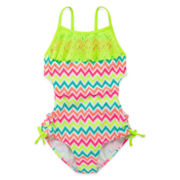 Angel Beach Ruffle Chevron Swimsuit – Girls 7-16