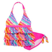 Angel Beach 2-pc. Tie Dye Triple-Tier Tankini – Girls 7-16