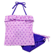 Malibu 2-pc. Chevron Anchor Swimsuit – Girls 7-16