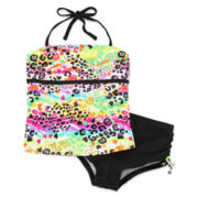 Breaking Waves Animal-Print Boyshort Tankini - Girls 7-16
