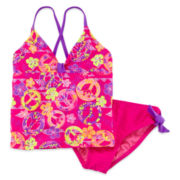 Breaking Waves 2-pc. Peace Sign Tankini – Girls 7-16