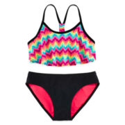 Tiki Beach 2-pc. Rainbow Flounce Swimsuit – Girls 7-16