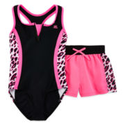 ZeroXposur® Leopard-Print Swimsuit and Shorts Set – Girls 7-16 and Plus