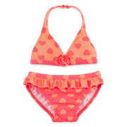 Angel Beach 2-pc. Heart-Print Swimsuit - Girls 2t-5t
