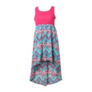 Pinky Floral Chevron High-Low Dress - Girls 7-16