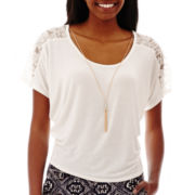 by&by Flutter-Sleeve Lace-Inset Necklace Top