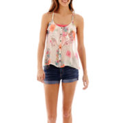 Arizona Ruffle Tank Top or Roll-Cuff Jean Shorts