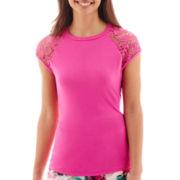 Bisou Bisou® Short Lace-Sleeve T-Shirt