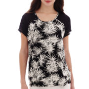 i jeans by Buffalo Short-Sleeve Fabric-Mix Print Top