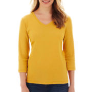 St. John's Bay® Essential 3/4-Sleeve V-Neck Tee - Petite