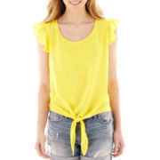 Self Esteem® Cap-Sleeve Tie-Front Top